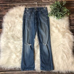 MOTHER The Insider Crop Distressed Jeans